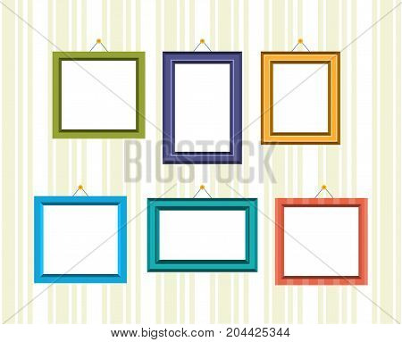 Set of retro frames for reward and photos in different colors and textures, hanging on the wall. Vector illustration isolated.