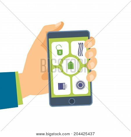 Hand holds the phone. Software on the smartphone. Mobile applications. Use the phone and its functions for your own needs. Vector illustration isolated on white background.