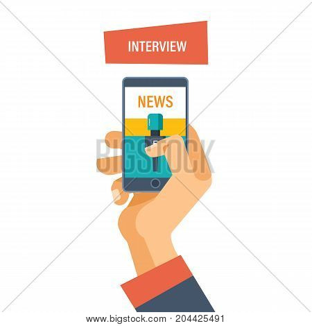 Interview concept. Hand hold microphone, reporters interview for publishers, press, television. Journalism and interviews. News broadcast. Vector illustration isolated.