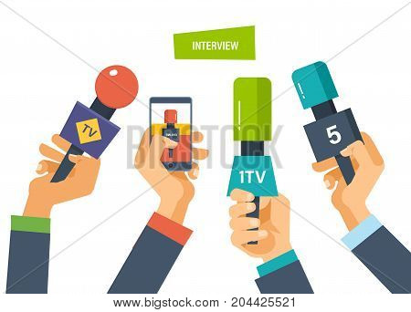 Hands hold microphones, telephones, cameras, reporters interview for publishers, press, television. Journalism, interviews. Live press conference collection of materials Vector illustration