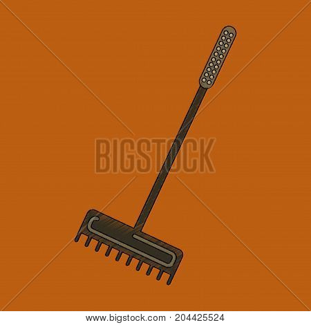 flat shading style icon rake agricultural cultivate