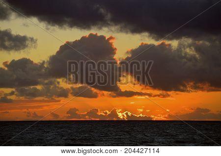 A beautiful sunset in the Mediterranean sea