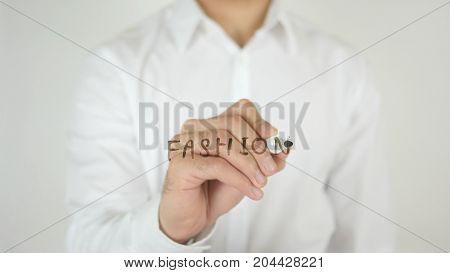 Fashion, Written On Glass By Man In Studio