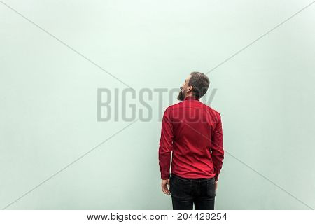 Back View Of A Sucess Businessman, On Gray Background. Looking Up And Dreaming