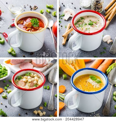 Food photo collage of assorted delicious homemade soups in enamel mugs with ingredients. Healthy summer food concept. Copy space.