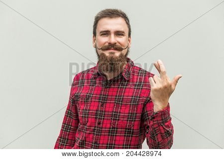 Closeup Portrait Hopeful Beautiful Bearded Man Crossing His Fingers, , Hoping, Asking Best Isolated