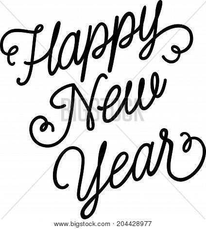 Happy New Year lettering. New Year Day design element. Handwritten text, calligraphy. For greeting cards, posters, leaflets and brochure.