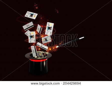 Background Magic Hat With Shine And Flying Discount Cards. Isolated Black, 3D Illustration
