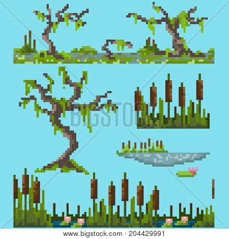 A set of pixel elements for simulating a swamp landscape.