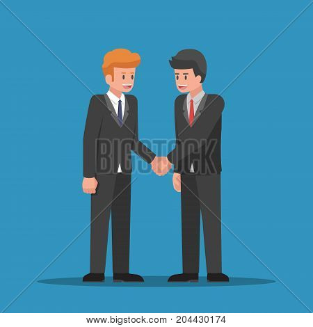 Businessmen shaking hands together. Business partnership and teamwork concept.