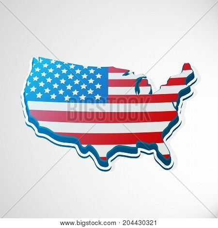 USA 3d flag in form of map. United States of America. National flag concept. Vector illustration.