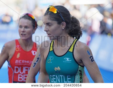 STOCKHOLM - AUG 26 2017:Female triathlete Ashleig Gentle and Flora Duffy after the finish in the Women's ITU World Triathlon series event August 26 2017 in Stockholm Sweden