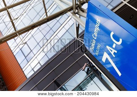 HELSINKI FINLAND - SEPTEMBER 16 2017: Nokia brand name on a blue sign in Nokia Campus near Helsinki Finland on September 16 2017