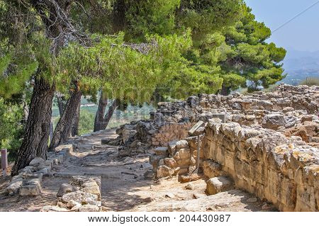 Phaistos palace archaeological site on Crete. Greece