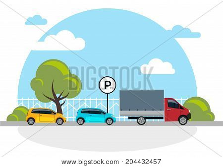 Parking lot vector illustration isolated on white, flat parking lot sign near the car parked, cartoon parking place design
