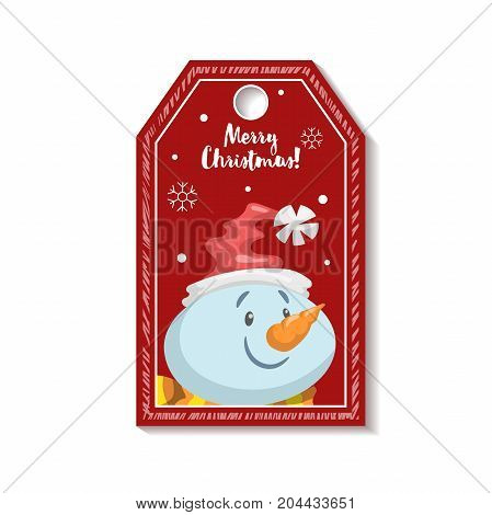 Cartoon red Christmas tag or label with smiling snowmen in Santa's hat. Xmas gift tag invitation banner sale or discount poster.