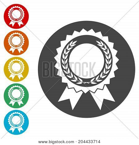 Award with laurels icons set, simple vector icon