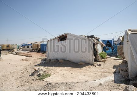September 9 2017 Reyhanli Turkey. Syrian unofficial refugee camp in Reyhanli. This camp is for syrian people from Idlib Aleppo and Rakka. September 9 2017 Reyhanli Turkey.