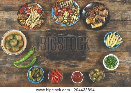 Vegetarian Barbecue Dishes, Grilled Vegetables.  Concept: Picnic