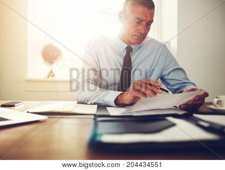 Mature Executive Reading Through Paperwork At His Desk