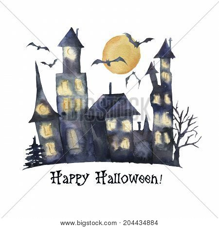 Watercolor Happy Halloween card. Hand painted Castle with glowing windows, bats isolated on white background. Holiday print for design or background