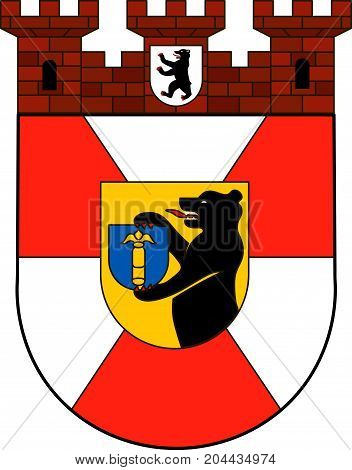 Coat of arms of Mitte is the first and most central borough of Berlin. Vector illustration from the
