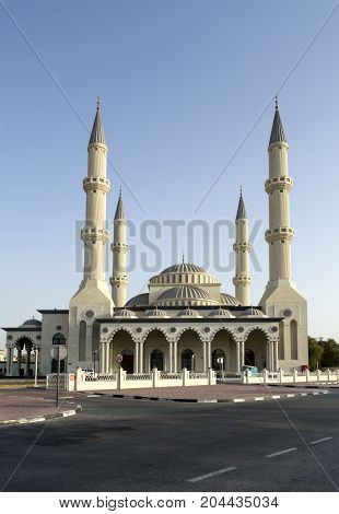 DUBAI, UAE - September 12, 2017: View of the Jumeirah Mosque named after Umar bin Al Khattab a companion of the Prophet Mohammed who became the second Caliph.