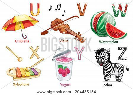 Vector alphabet letters for children education with funny cartoon pictures. Isolated. Learn to read.