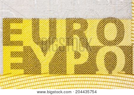 Euro sign of two hundred banknote. High resolution photo.
