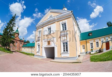 View on the Holy Spirit Monastery in Borovichi Russia. Monastery was founded in 1327