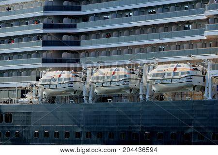 Velsen the Netherlands - May 21st 2017: MS Koningsdam detail of safety vessel