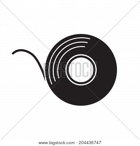 Adhesive tape roll glyph icon. Silhouette symbol. Insulating construction and electrical tape. Negative space. Vector isolated illustration