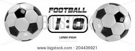 Soccer or Football White Banner With 3d Ball and Scoreboard on white background. Soccer game match goal moment with ball in the net