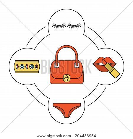 Woman's bag contents color icons set. Lipstick, panties, false eyelashes, bracelet. Isolated vector illustrations