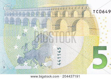Close-up of part 5 euro banknote. Hi res photo.
