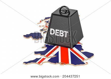 British national debt or budget deficit financial crisis concept 3D rendering