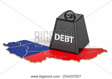 Czech Republic national debt or budget deficit financial crisis concept 3D rendering