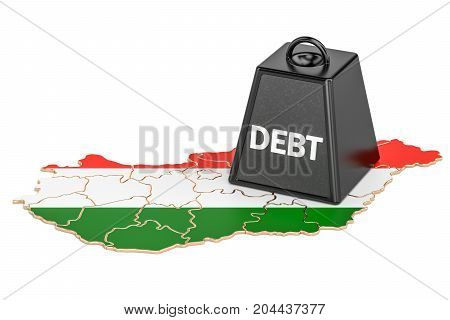Hungarian national debt or budget deficit financial crisis concept 3D rendering