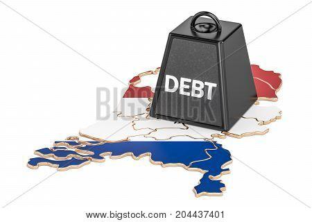 Netherlands national debt or budget deficit financial crisis concept 3D rendering