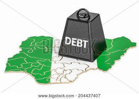 Nigerian national debt or budget deficit financial crisis concept 3D rendering