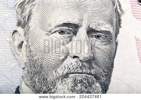 A U.S. fifty 50 dollar bill close up of Grant. High resolution photo.