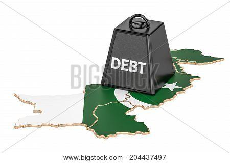 Pakistani national debt or budget deficit financial crisis concept 3D rendering