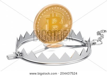Trap with bitcoin 3D rendering isolated on white background