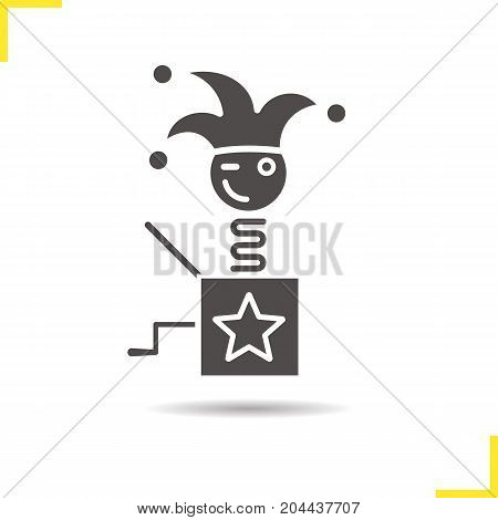 Jack in the box glyph icon. Drop shadow silhouette symbol. Winking clown. Jester toy. Negative space. Vector isolated illustration