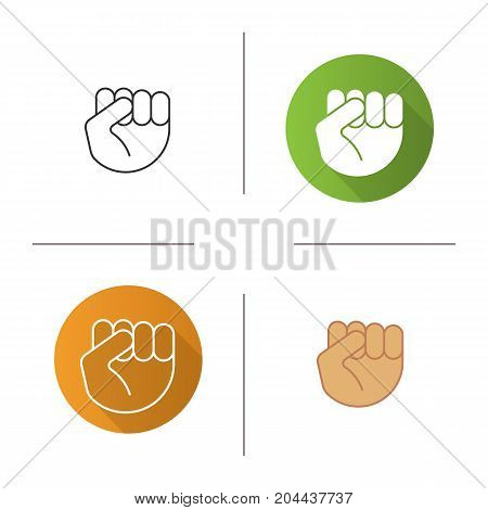 Squeezed fist icon. Flat design, linear and color styles. Clenched hand gesture. Isolated vector illustrations