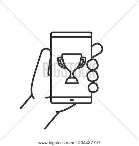 Hand holding smartphone linear icon. Thin line illustration. Smart phone sport app. Contour symbol. Vector isolated outline drawing