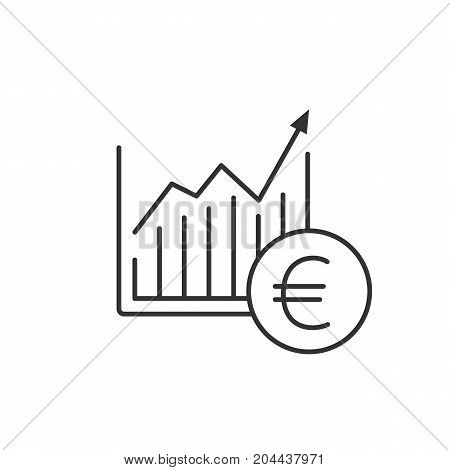 Market growth chart linear icon. Thin line illustration. Statistics diagram with euro sign. Contour symbol. Vector isolated outline drawing