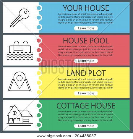 Real estate web banner templates set. Key, swimming pool, building location, cottage house. Website color menu items with linear icons. Vector headers design concepts