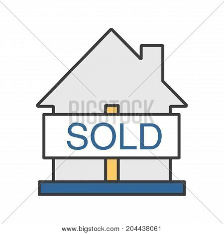 Sold house color icon. Real estate purchase. House with sold sign. Isolated vector illustration