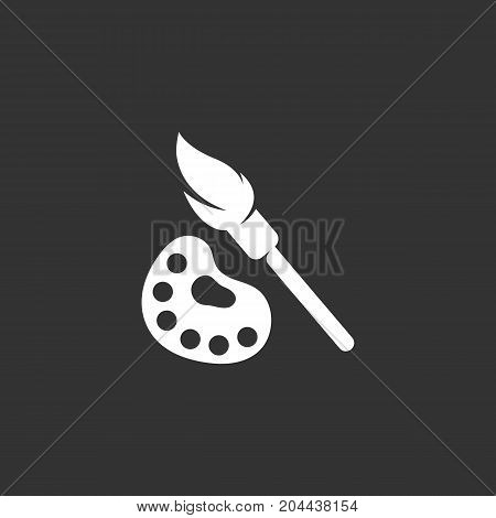 Paint brush with palette icon isolated on black background. Paint brush vector logo. Flat design style. Modern vector pictogram for web graphics - stock vector